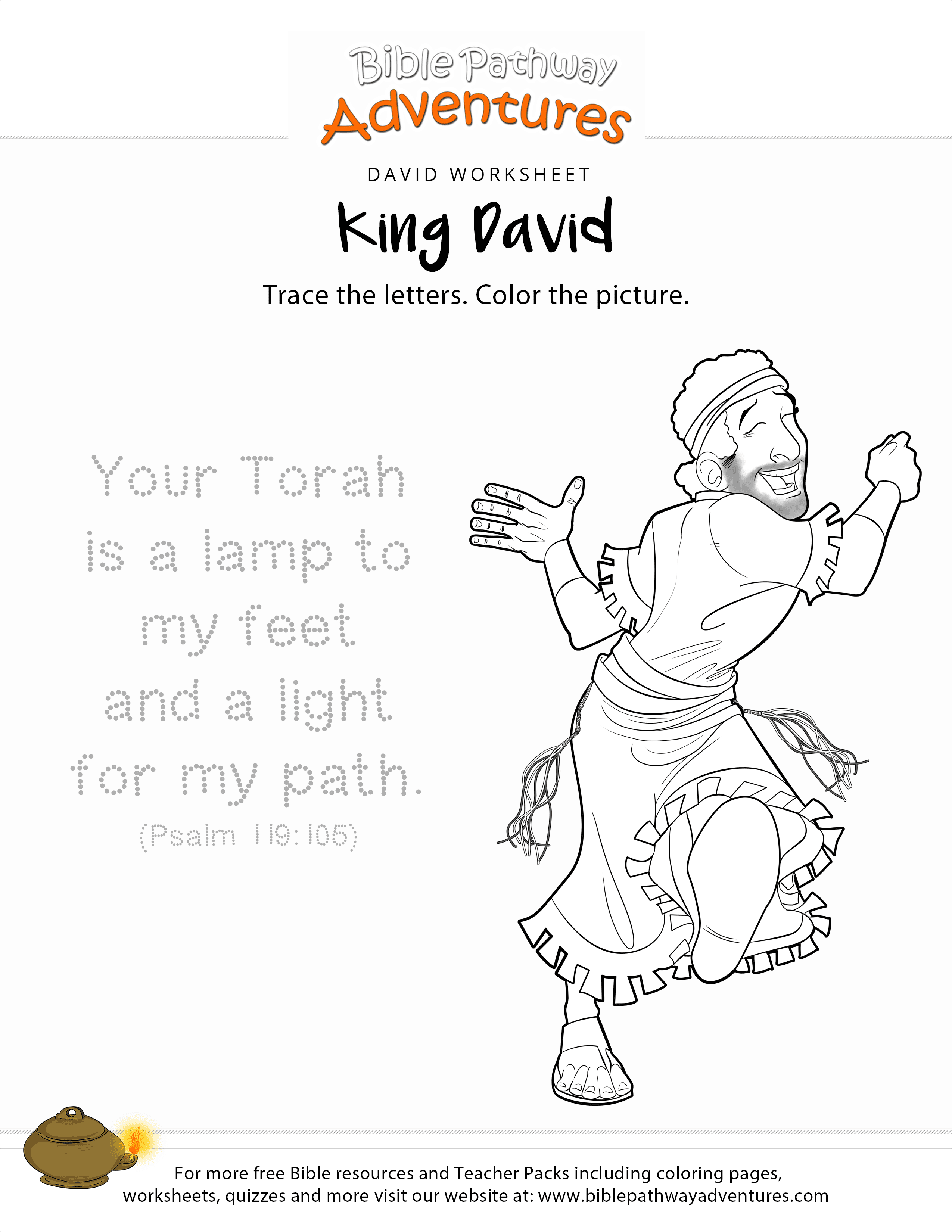 King David Copy And Coloring Page