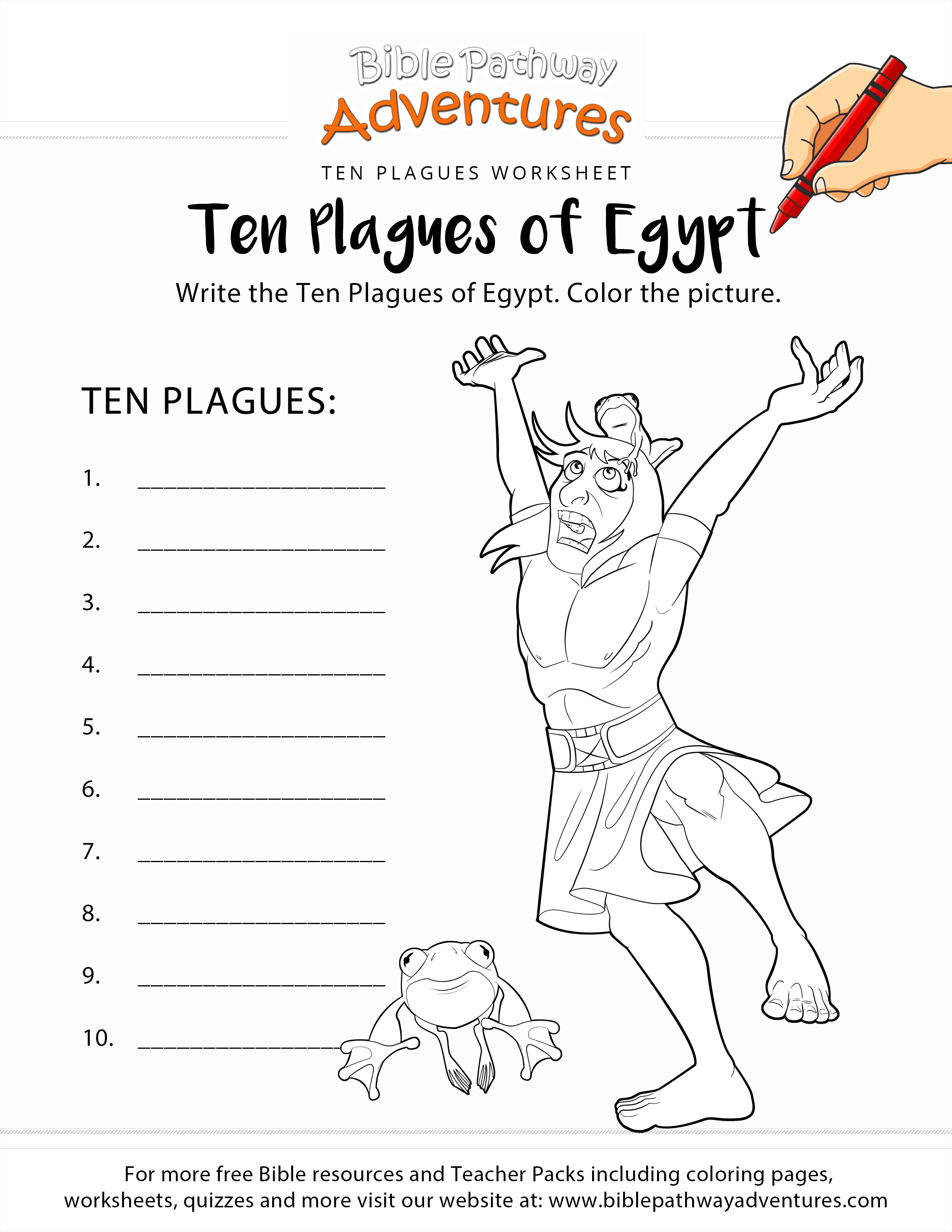 ten plagues of egypt worksheet and coloring page
